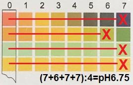 Вычисление лакмусом pH6.75